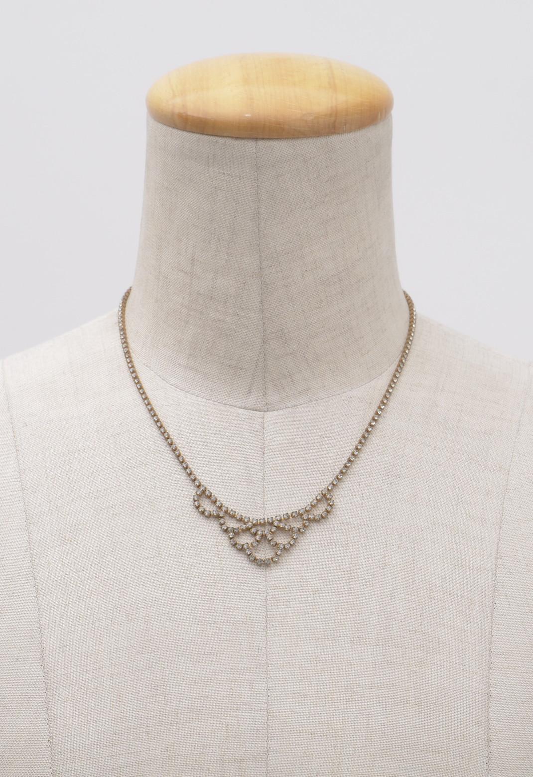 ラインストーン デザイン ゴールド ネックレス
