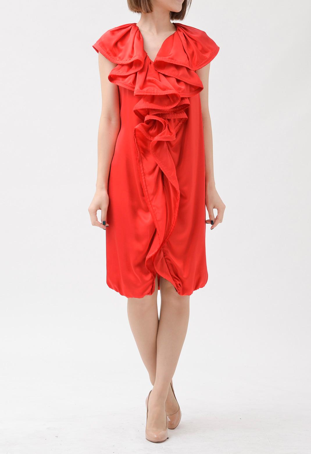 フロント ラッフル シルクサテン ノースリーブ ドレス