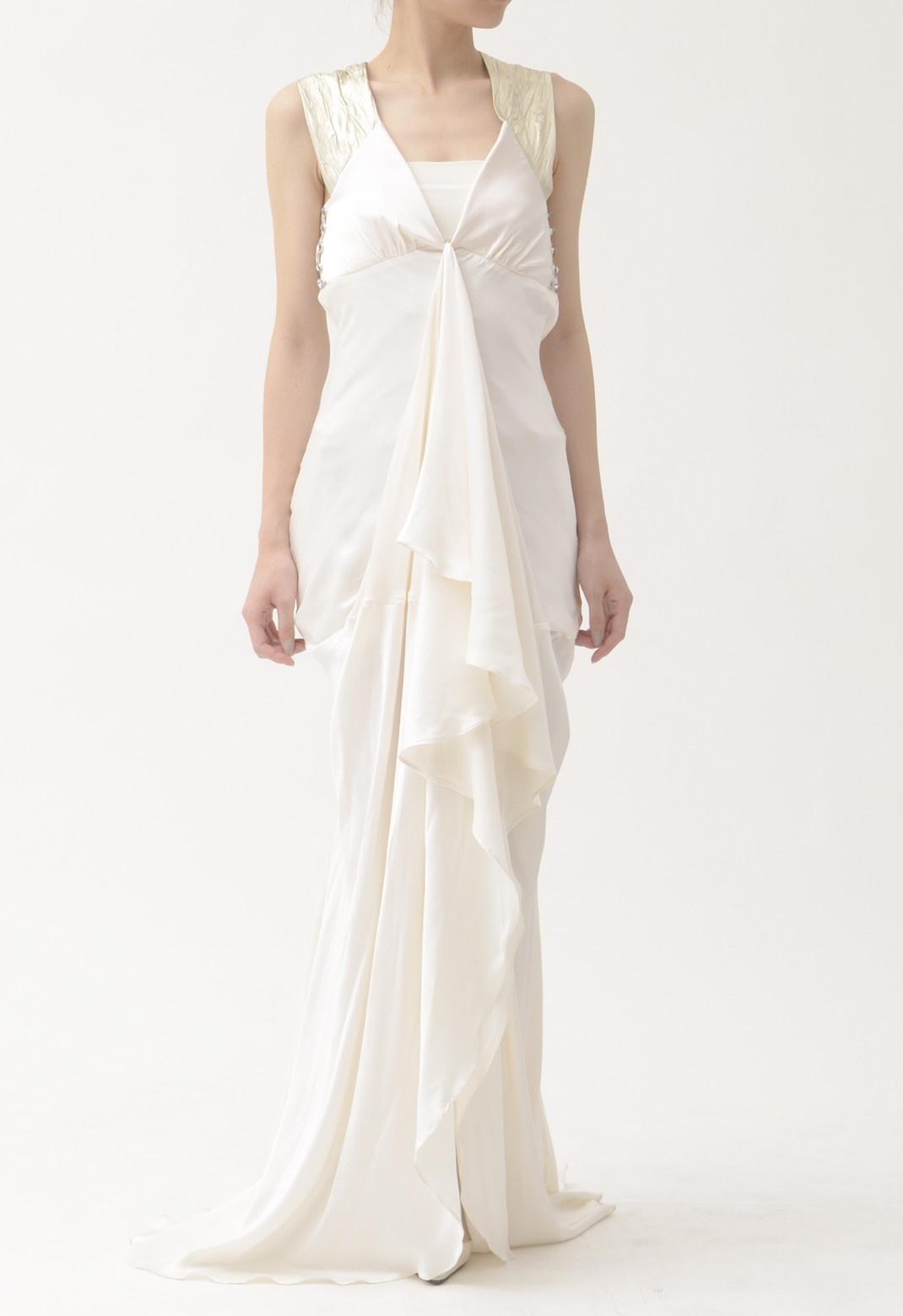ゴールド レザークロス× シルク サテン ロング ドレス