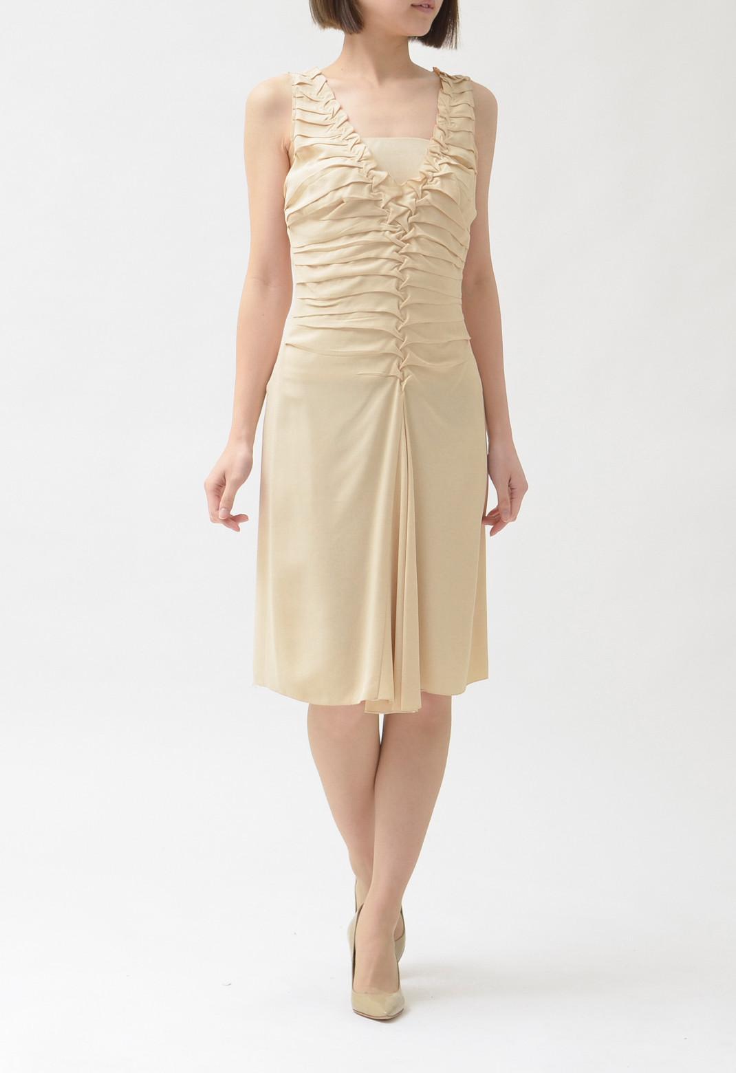 プラダ フロントフリル風タック & ボックスプリーツ シルクドレス