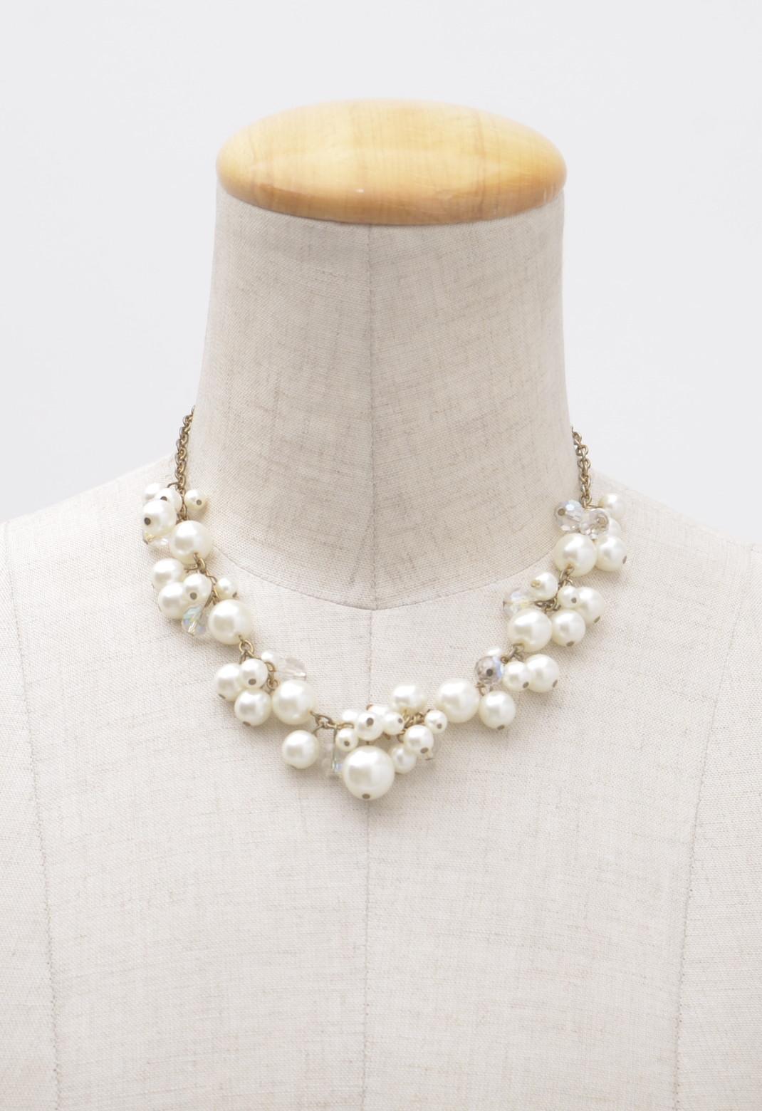 ホワイトパール × クリアビーズ ボリューム ネックレス