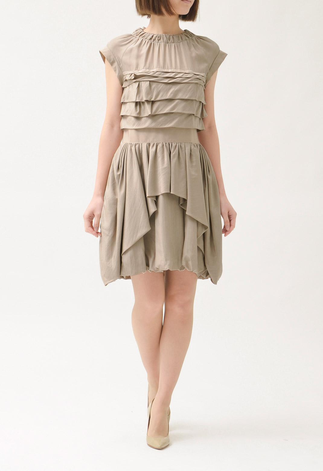 NINA RICCI シルク ランダムプリーツ ドレス