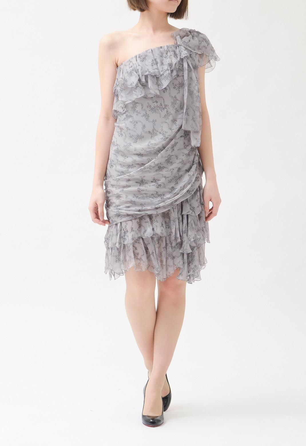 ディオール 小花プリント シルクシフォン ワンショルダー ドレス