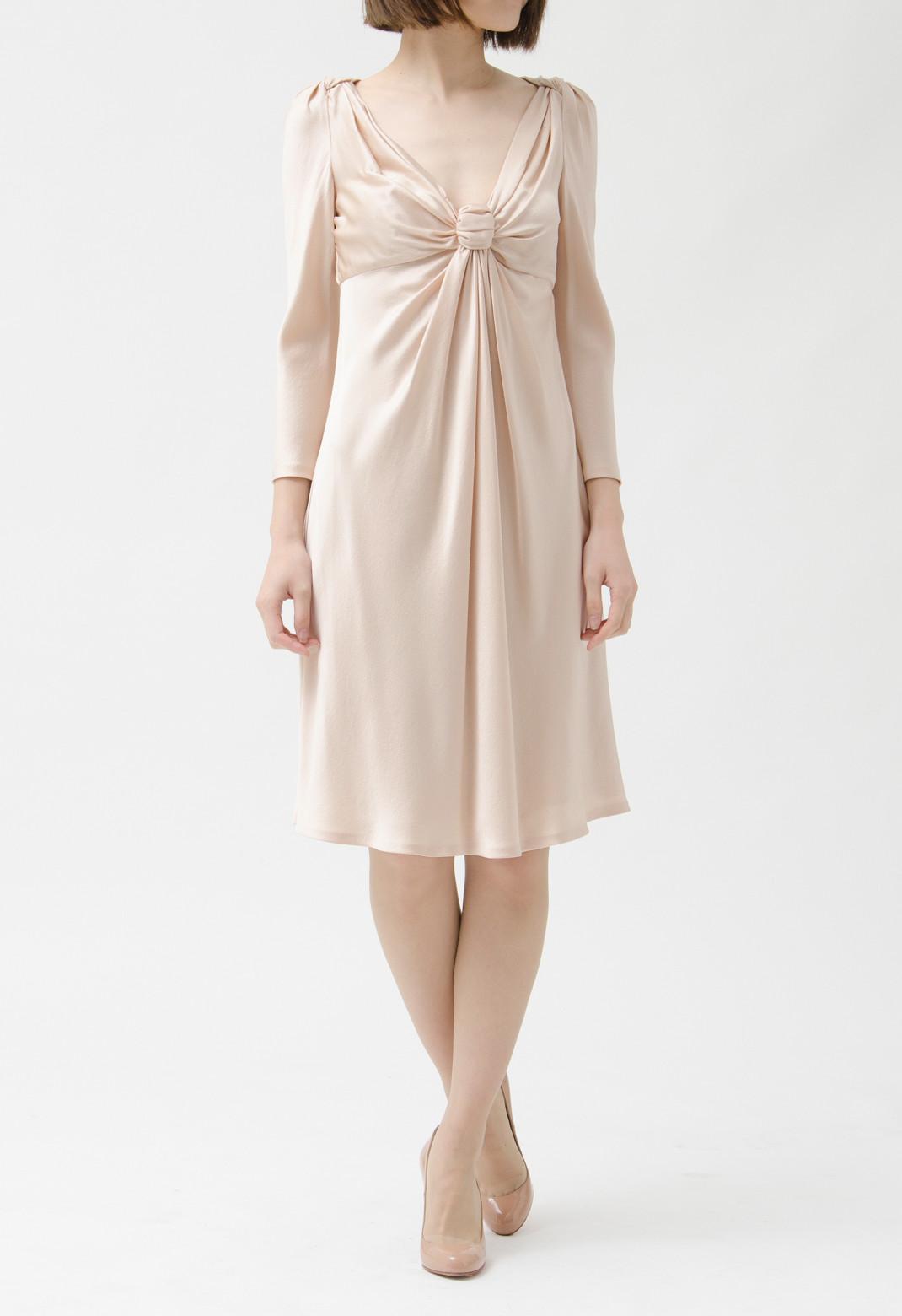 リボン風 ドレープ飾り シルク 七分袖ドレス