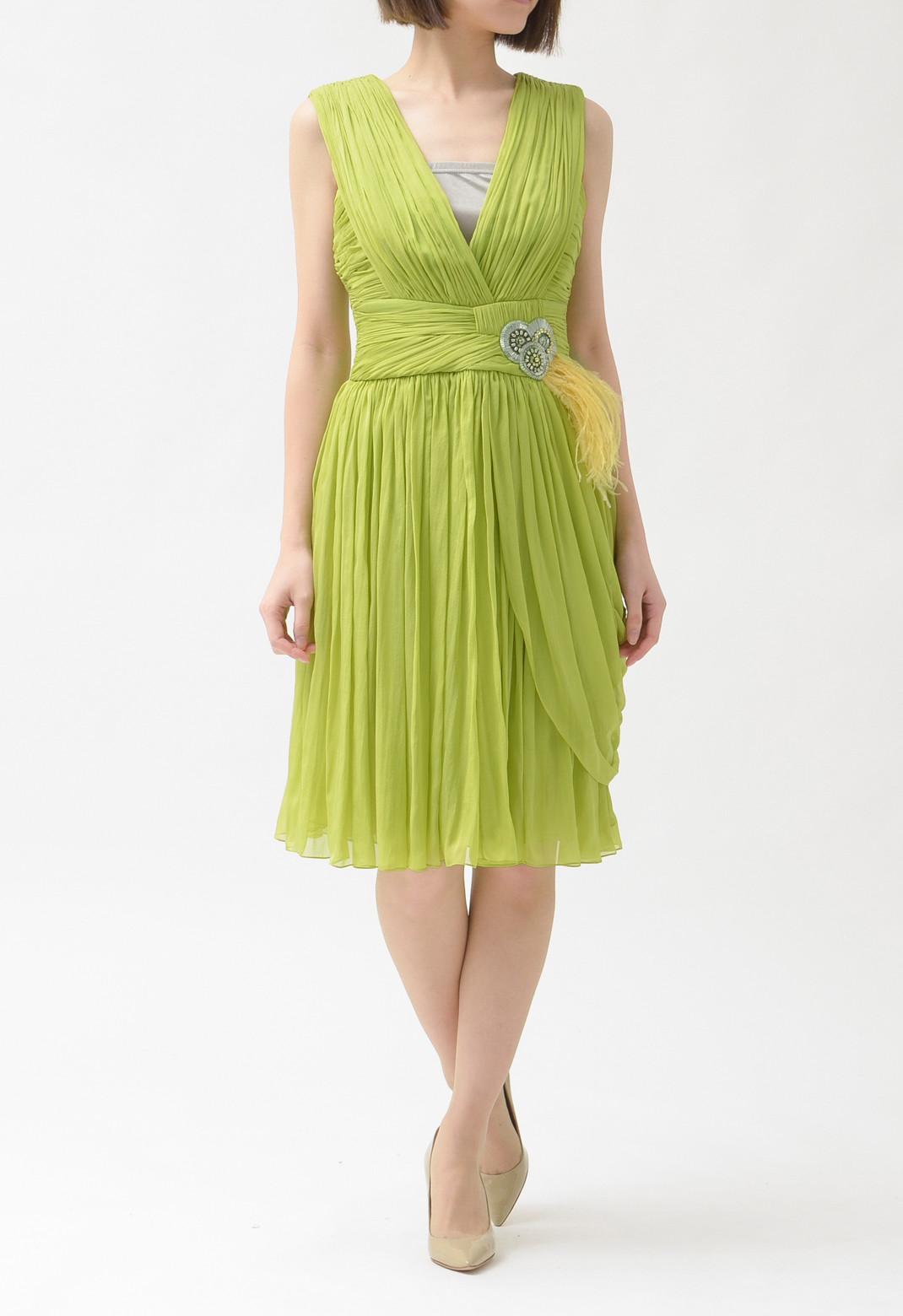 ウエストビーズ & フェザー飾り シルク ノースリーブ ドレス