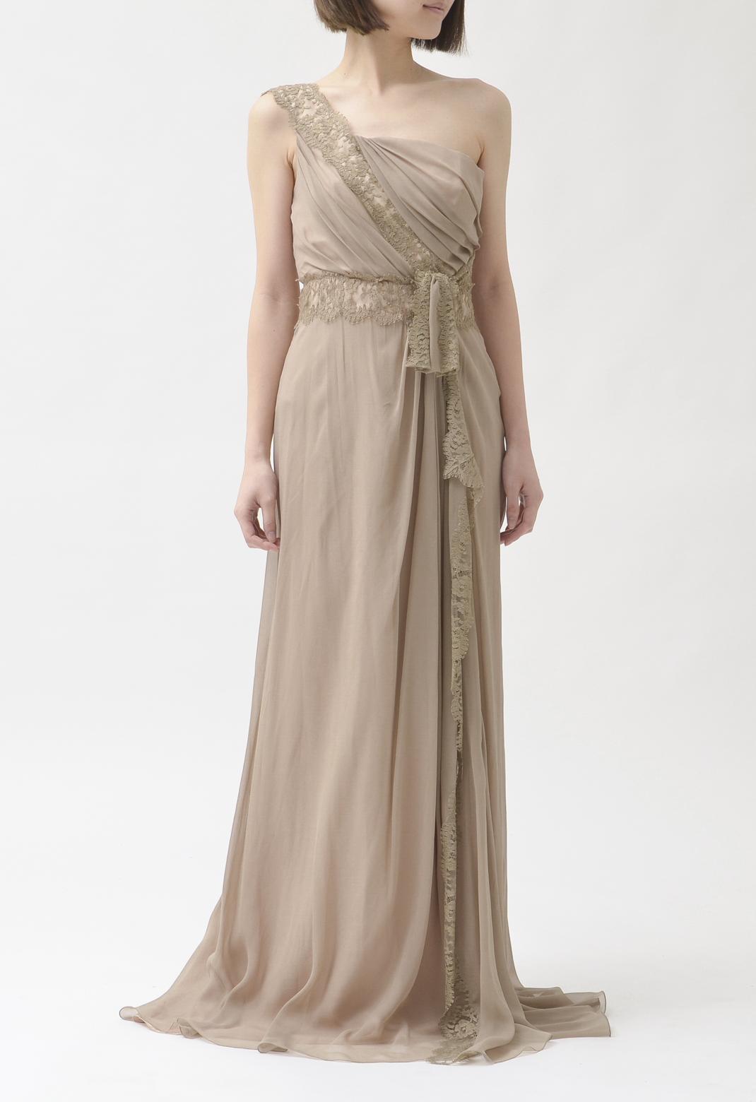 シルクレース ウエストリボン飾り ワンショルダー ロング ドレス