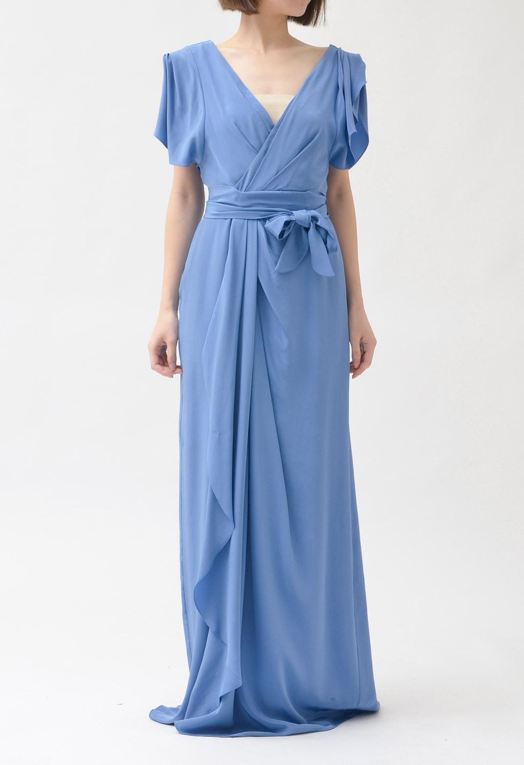 ウエストリボン シルク ロングドレス