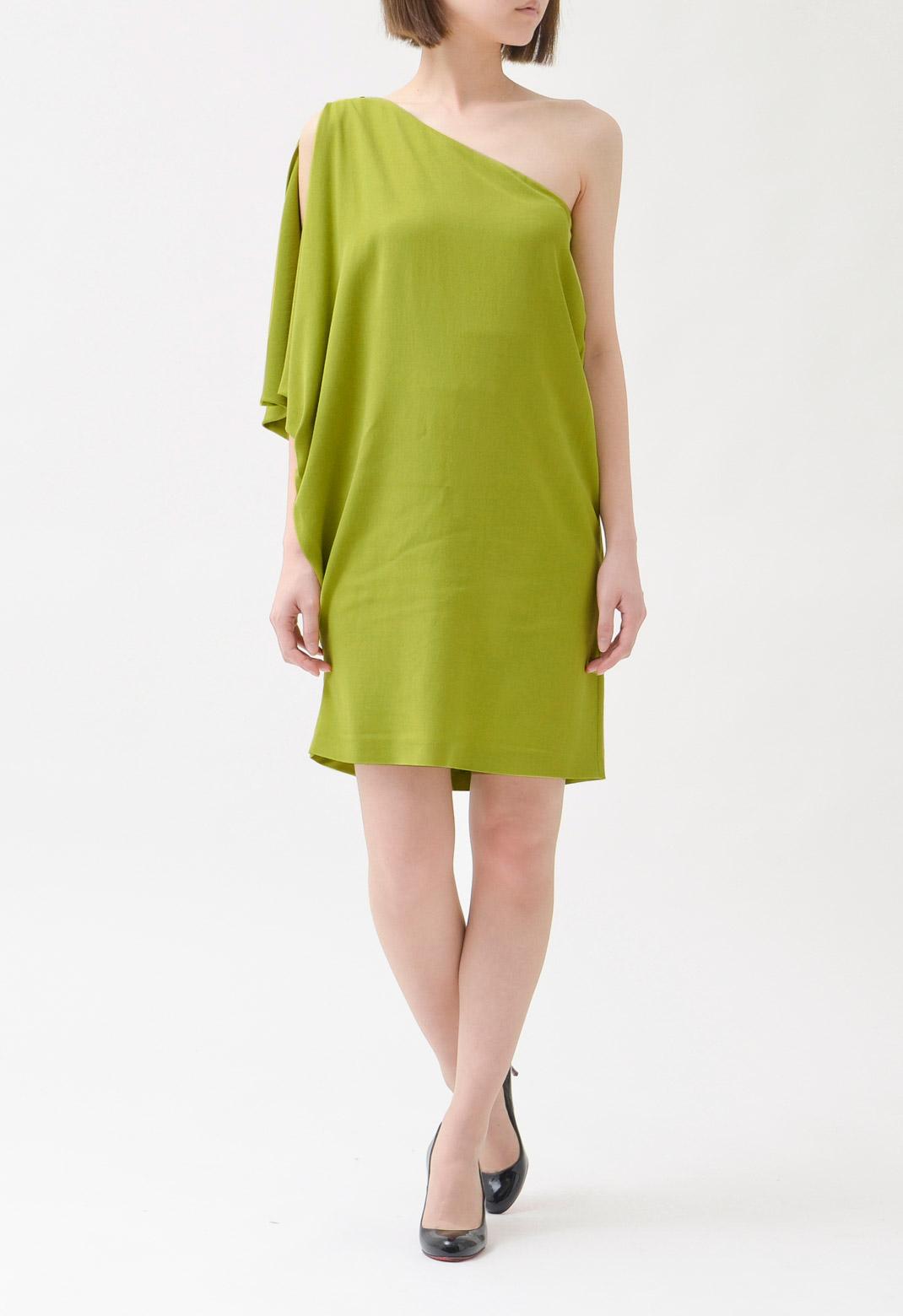 ラッフル & ワンショルダー ヴィスコース ドレス