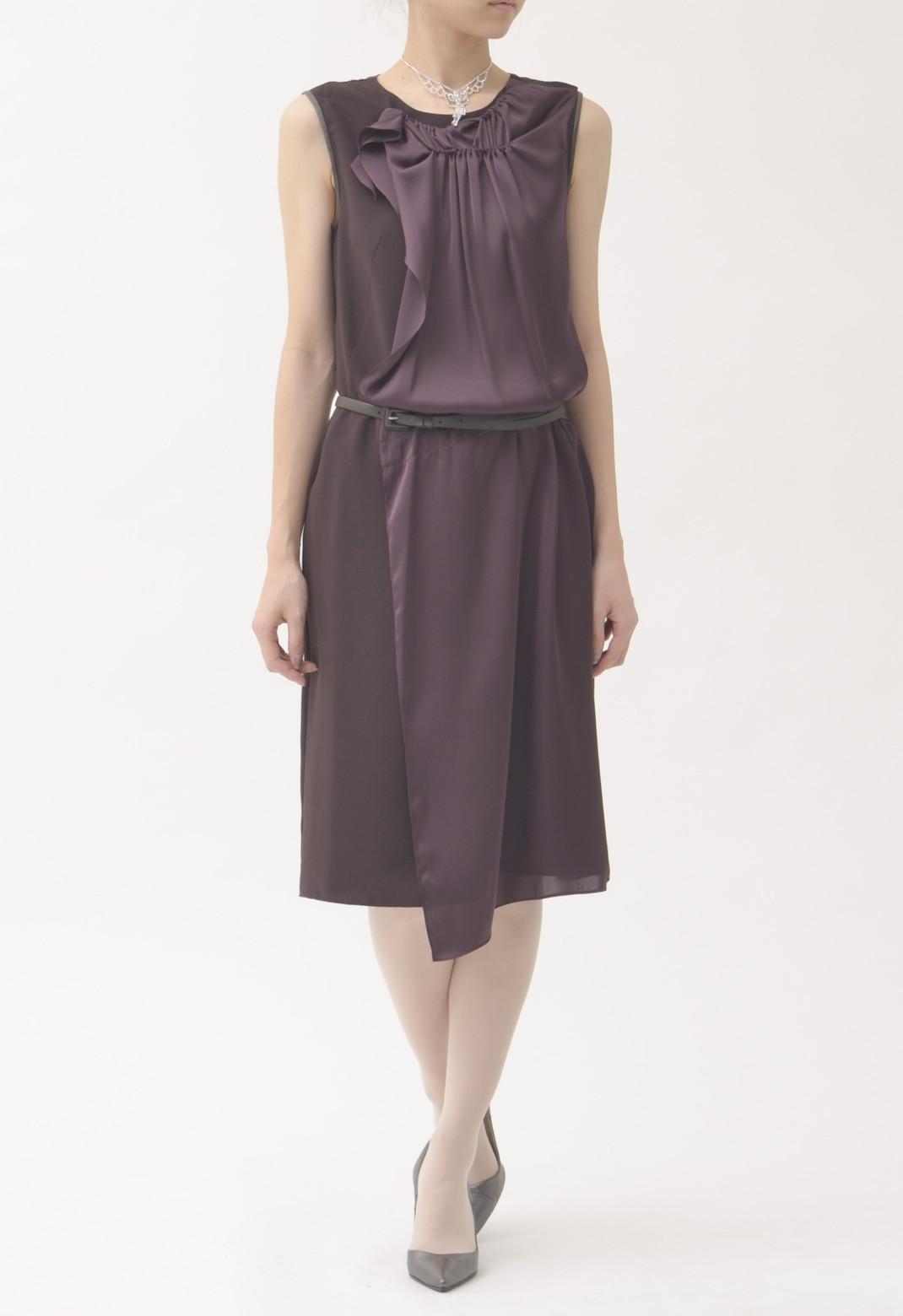 フリル飾り ノースリーブドレス