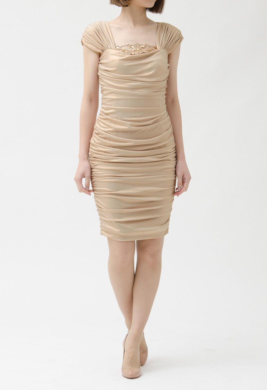 フロントスパンコール飾り フレンチスリーブドレス