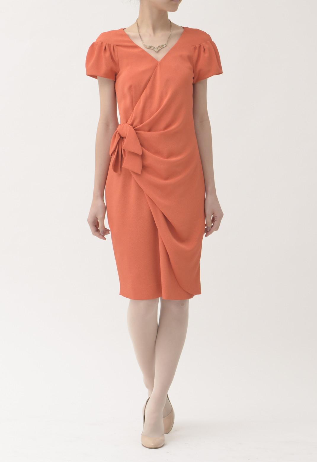 ウエストリボン飾り 半袖 ドレス