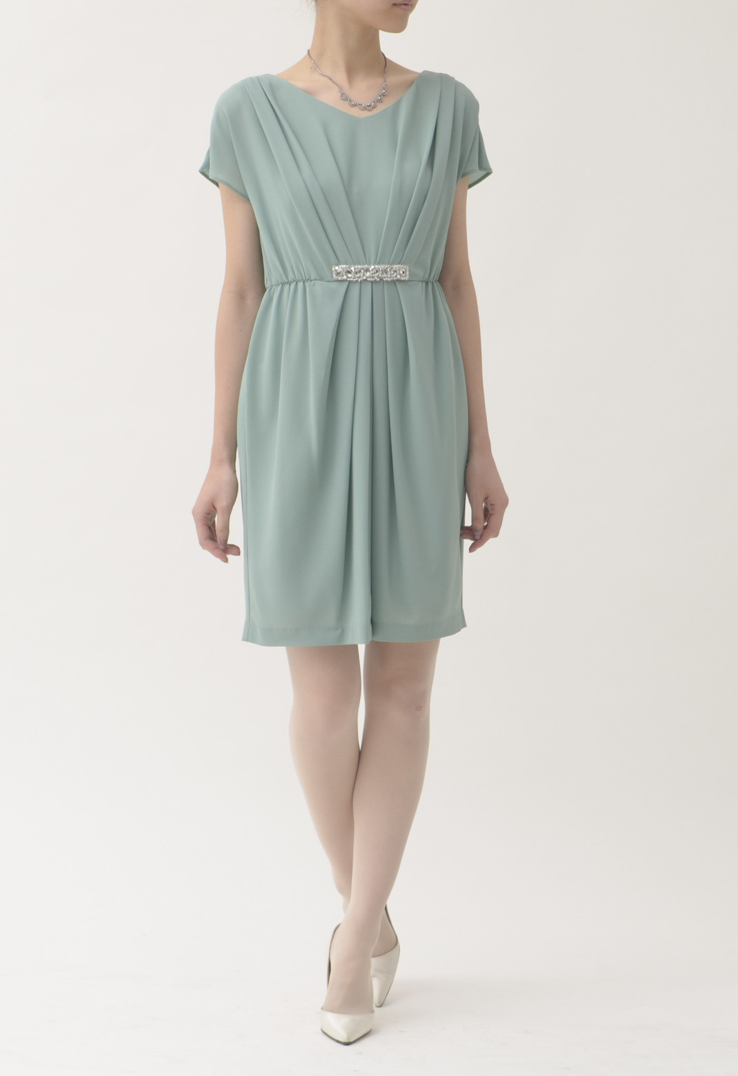 Vネック ウエストビジュー飾り 半袖 ドレス