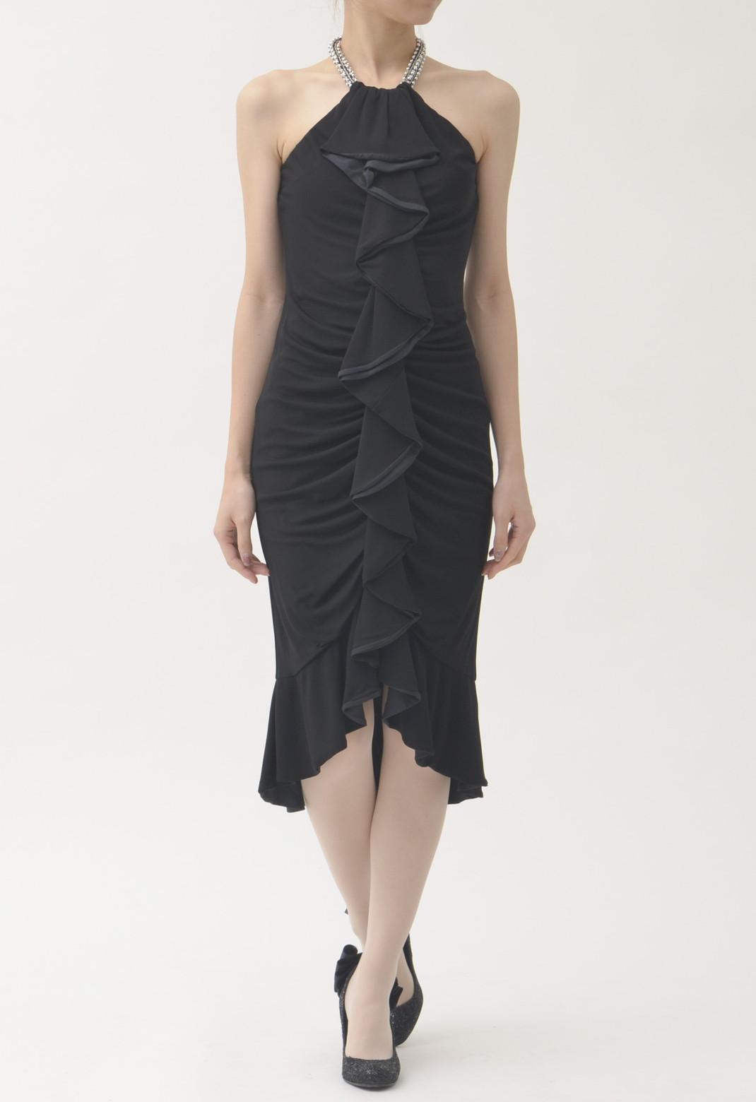 ビジュー飾り フロントフリル ホルターネック ドレス ブラック
