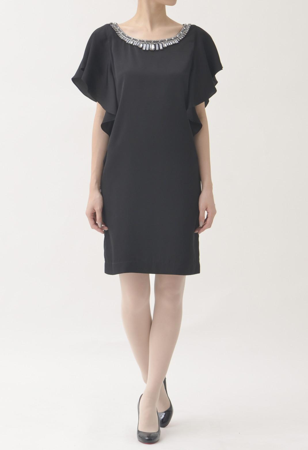 ラウンドネック ビジュー飾り 半袖 ドレス