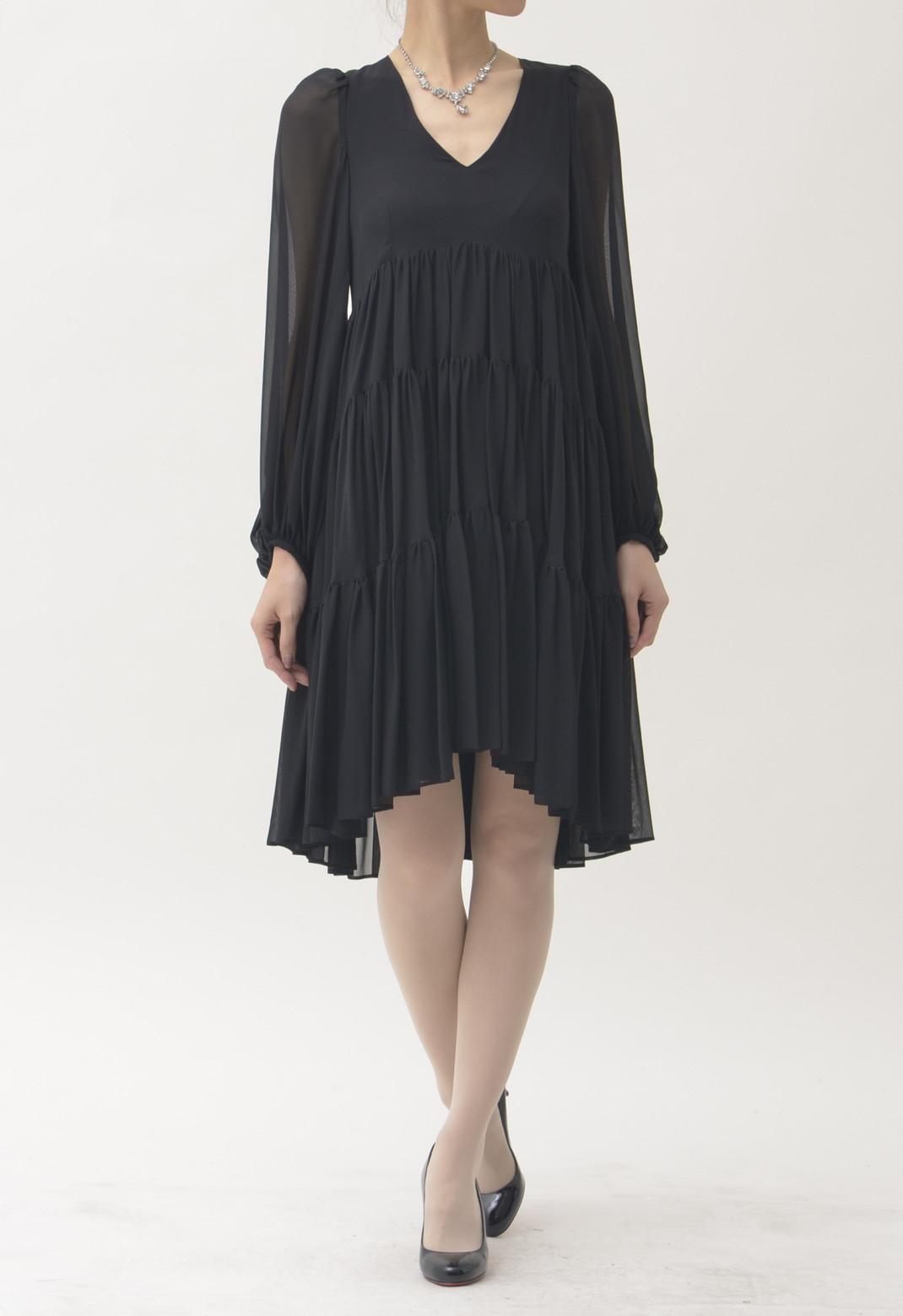 シースルー ティアード 長袖ドレス