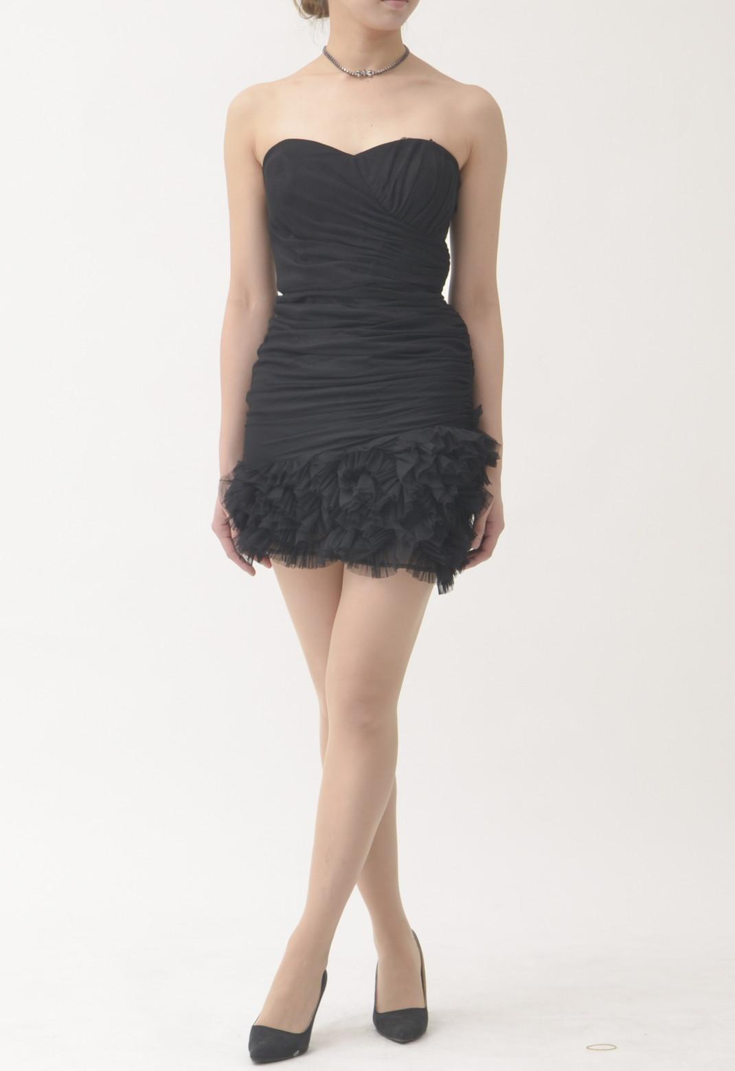 総チュール 裾フリル ベアトップドレス