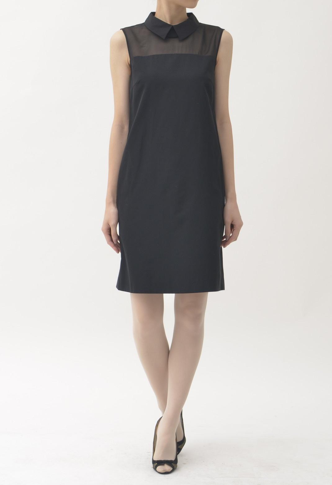 シャツカラー胸元シースルー切替ノースリーブドレス