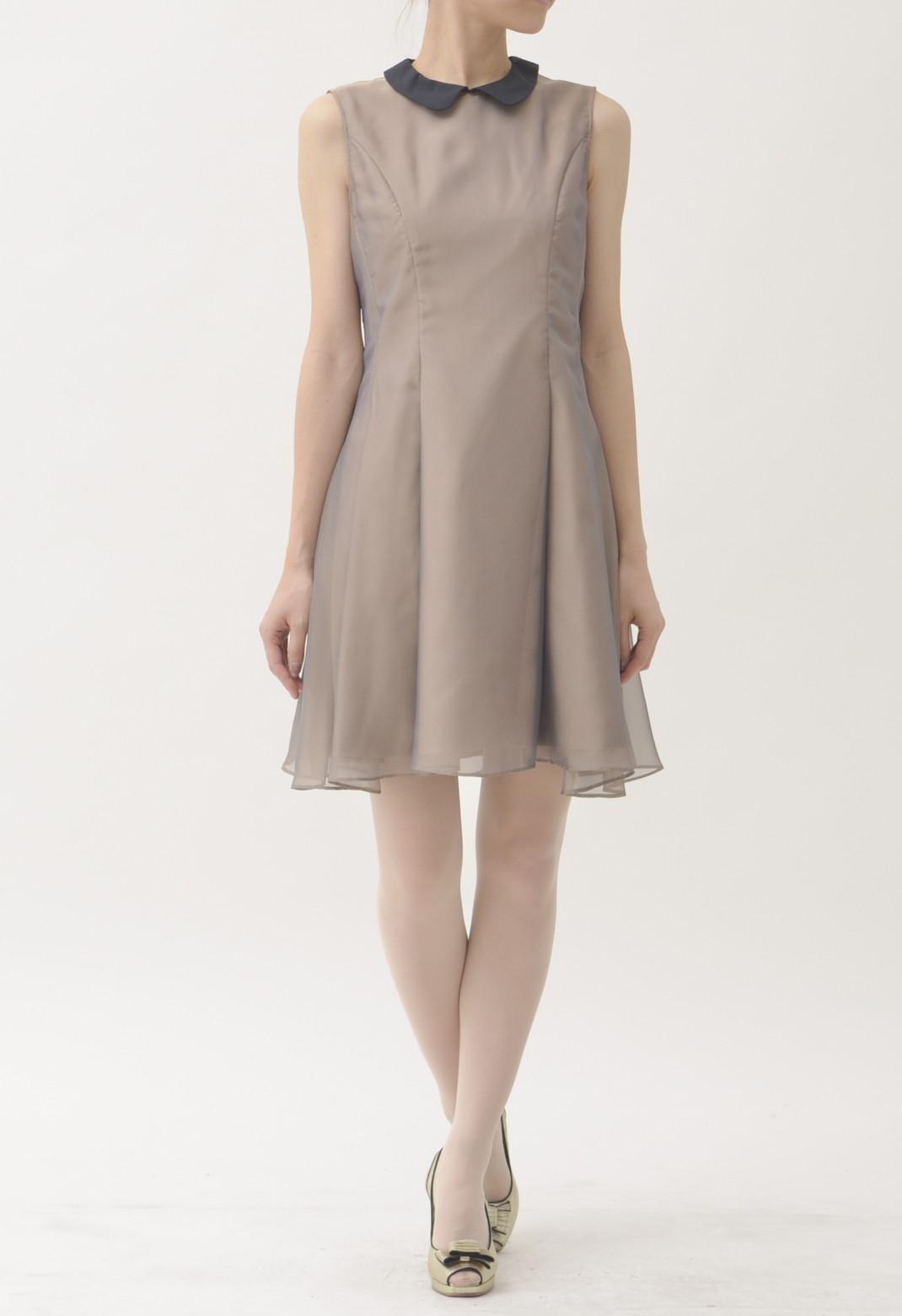メタリックオーガンジー 襟付き ノースリーブドレス