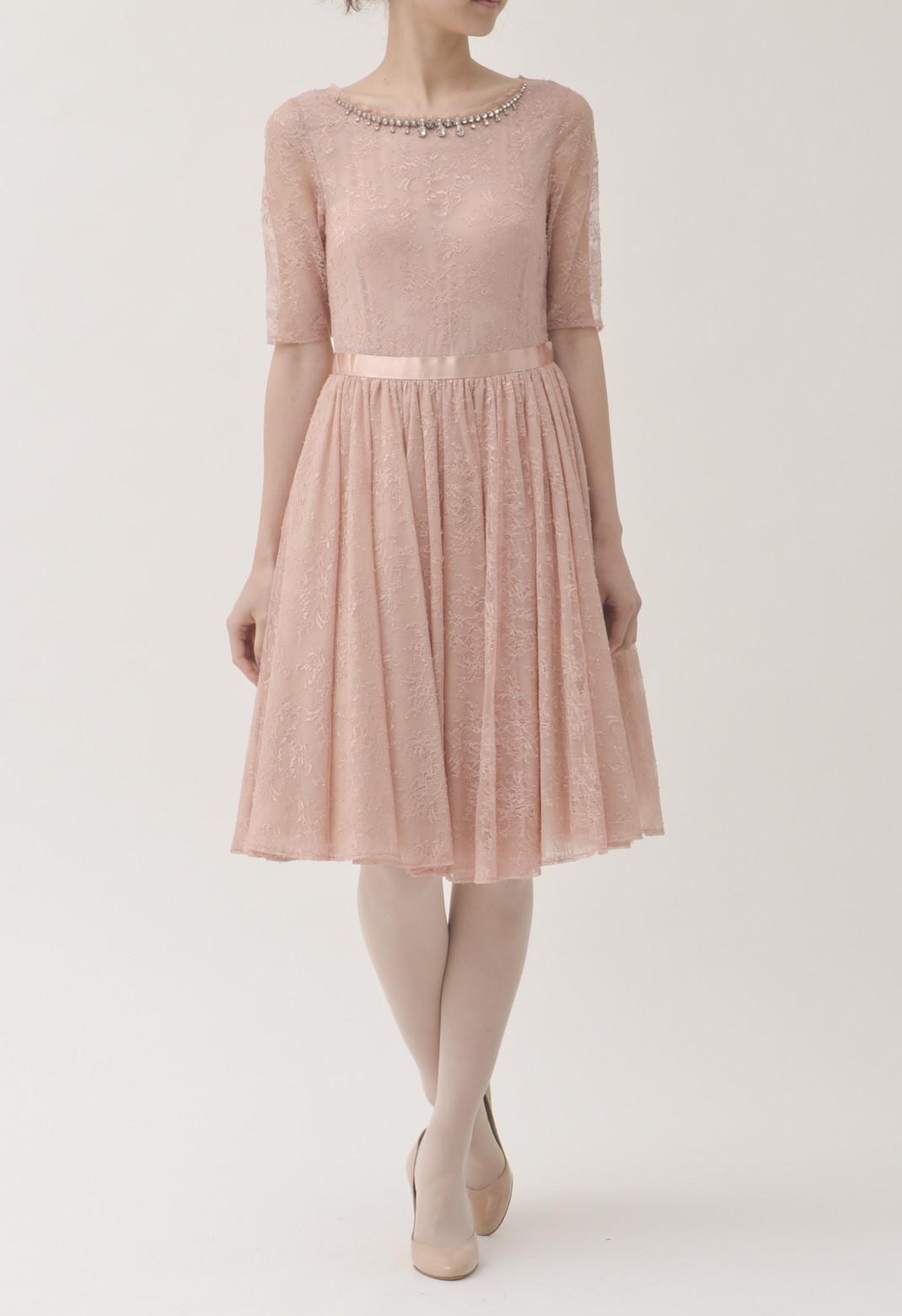 ジルスチュアート ラウンドネック パールビジュー飾り チュチュ付き 五分袖ドレス