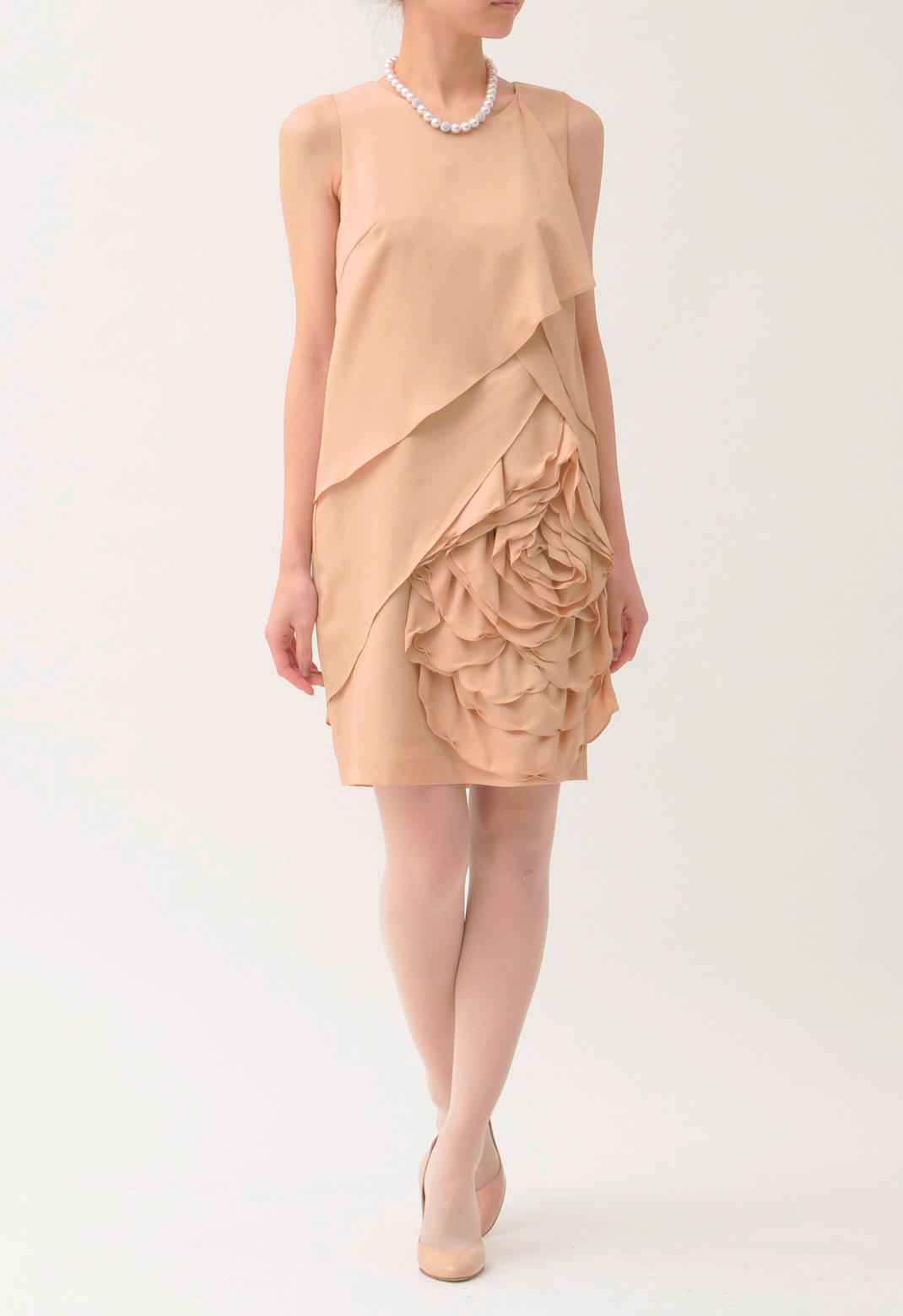 フラワーモチーフ ノースリーブ  ドレス