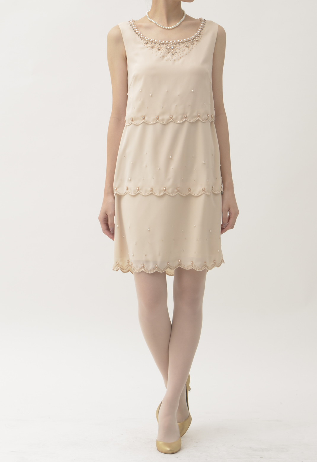パール×ビジュー飾り ノースリーブ ドレス