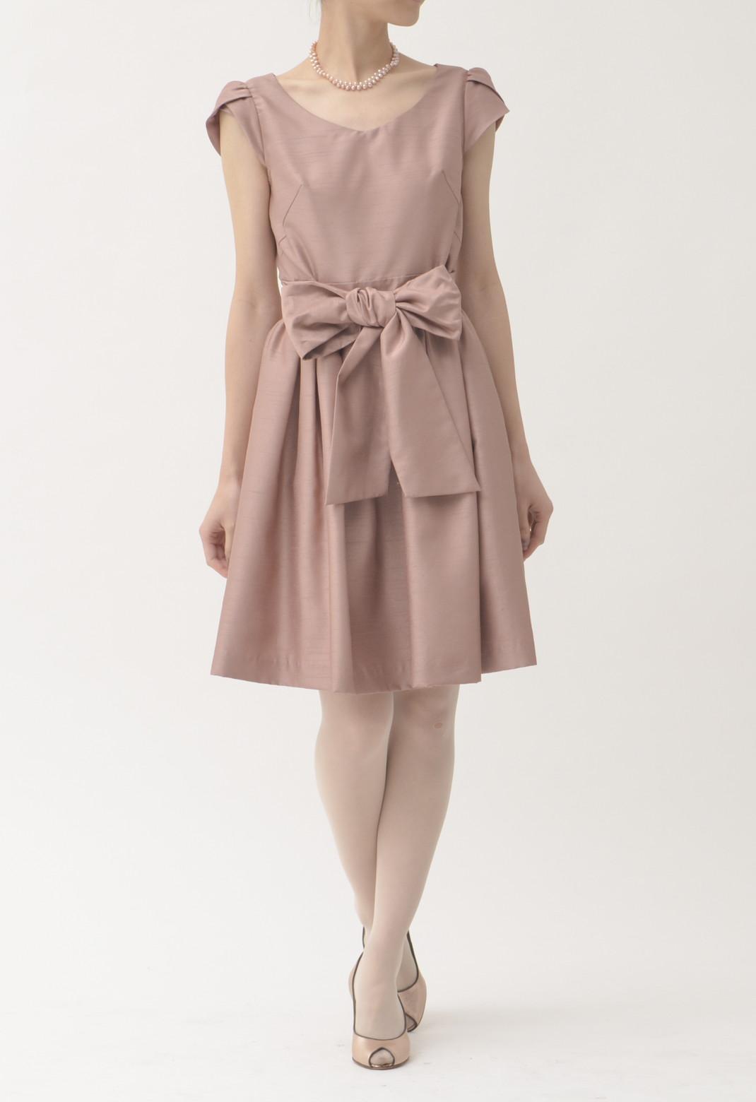 ウエストリボン 半袖 ドレス