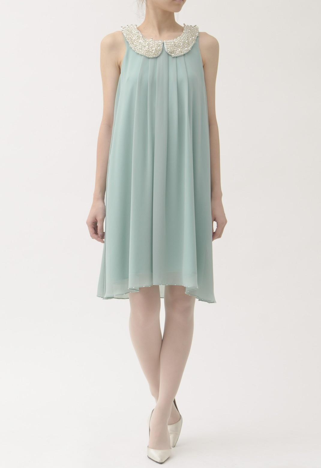 ビジュー襟付 ノースリーブ ドレス