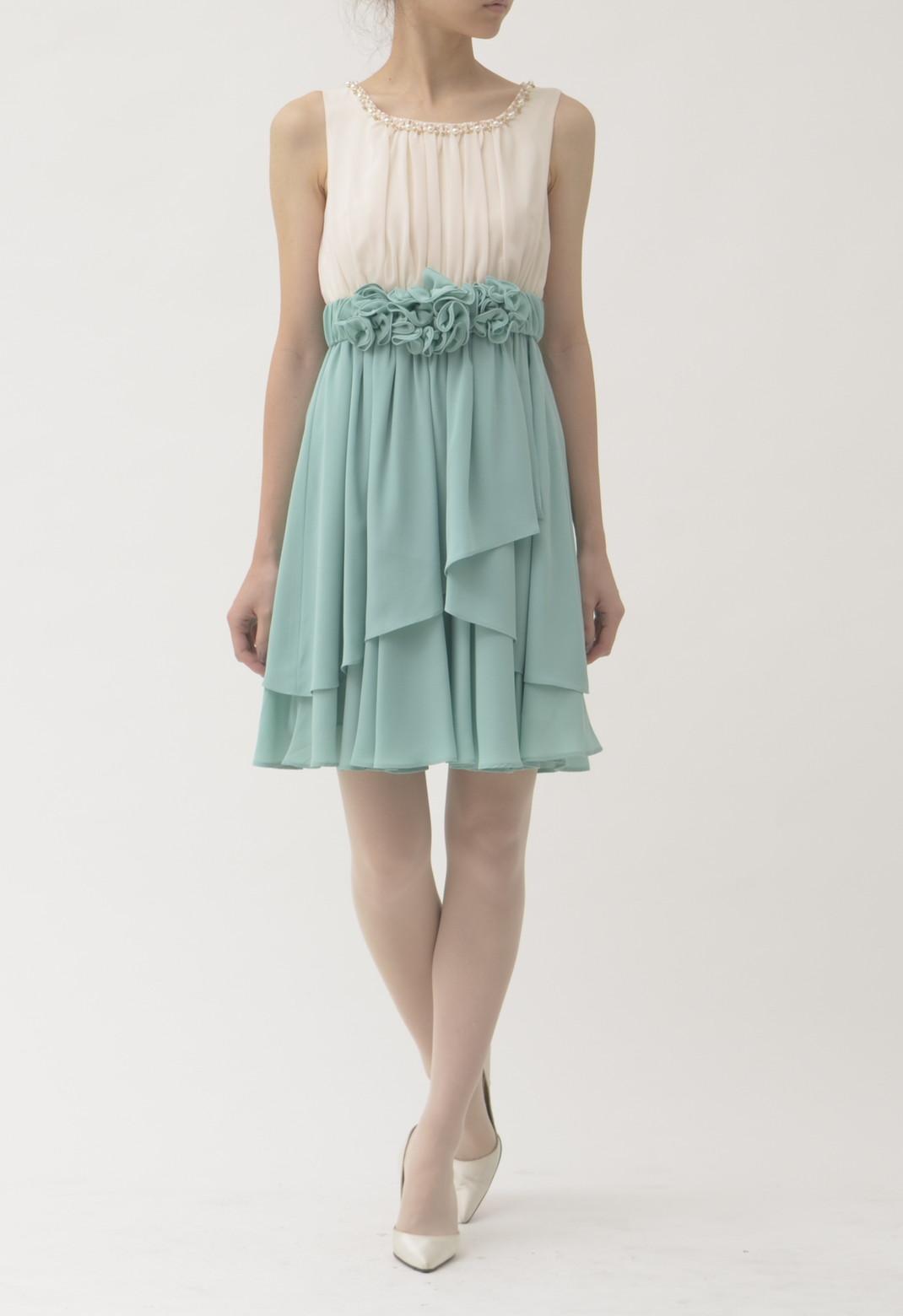 ビーズ×パール飾り ノースリーブ ドレス