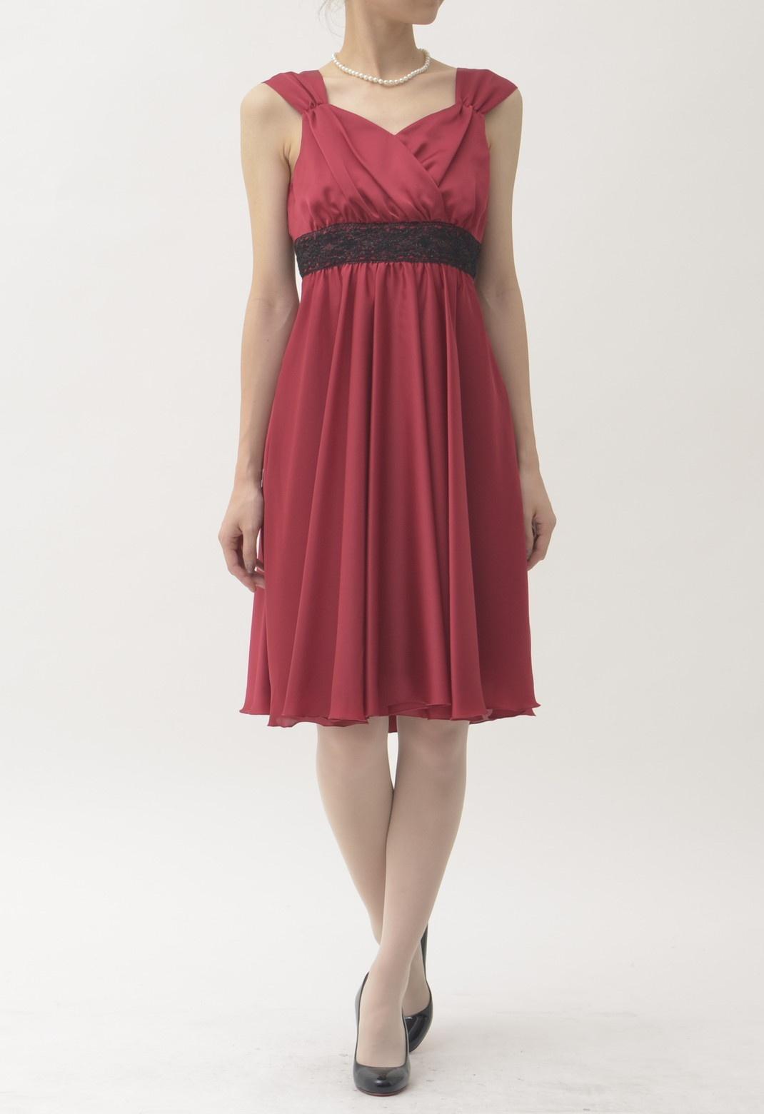 ウエストレース飾り ノースリーブ ドレス
