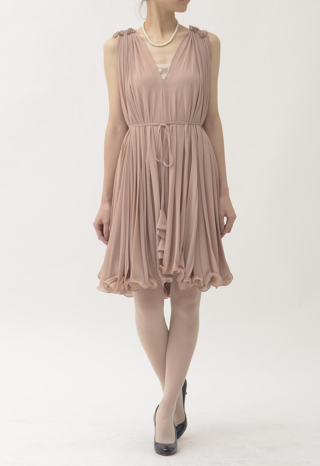 総プリーツ ノースリーブ ドレス