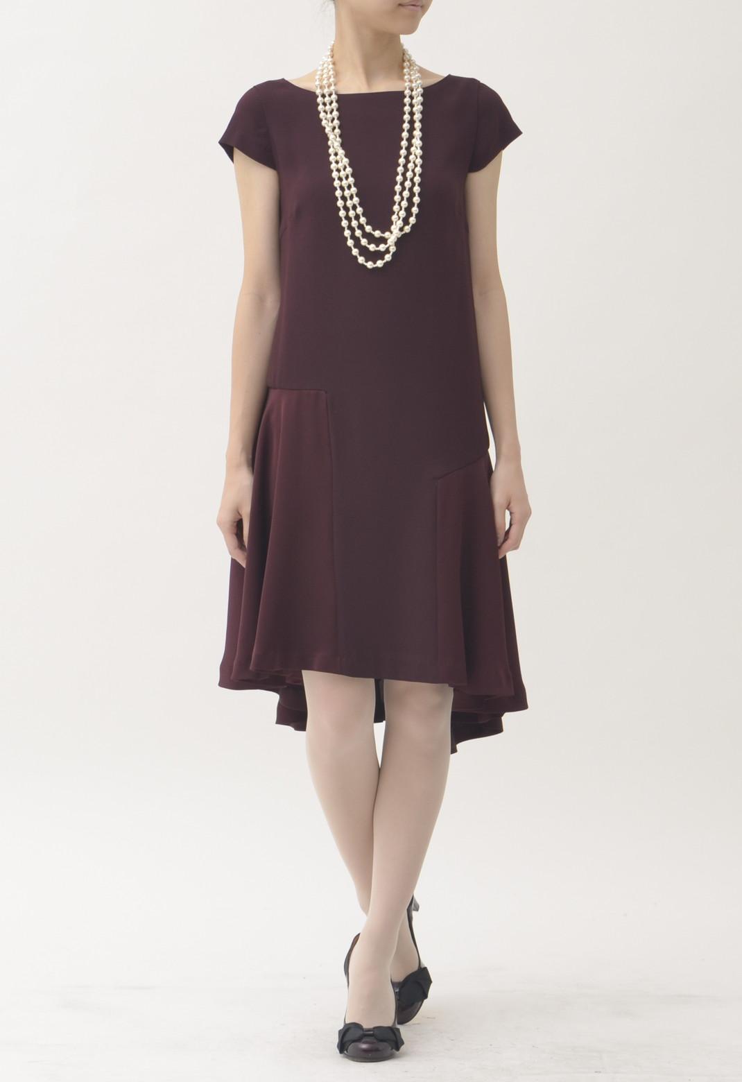 裾アシンメトリー 半袖 ドレス