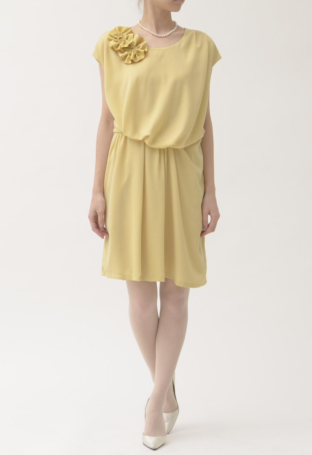 フラワーコサージュ付き フレンチスリーブ ドレス