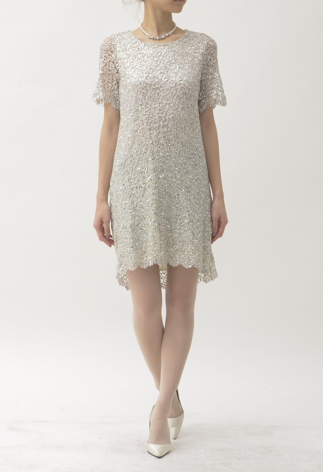 ネック刺繍 & 総スパンコール 半袖ドレス
