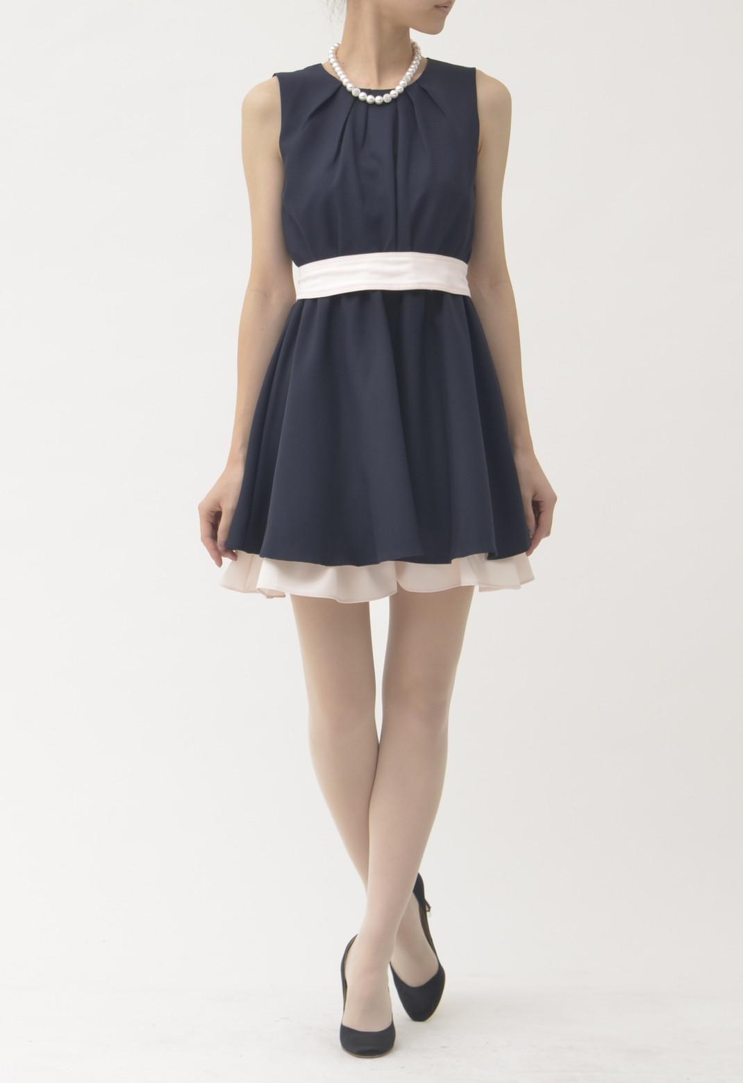 裾バイカラーティアード ノースリーブ ドレス