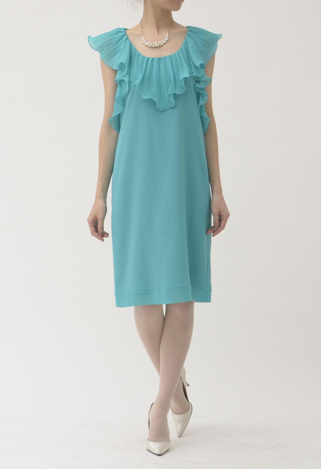 フロントフリル フレンチスリーブ ドレス