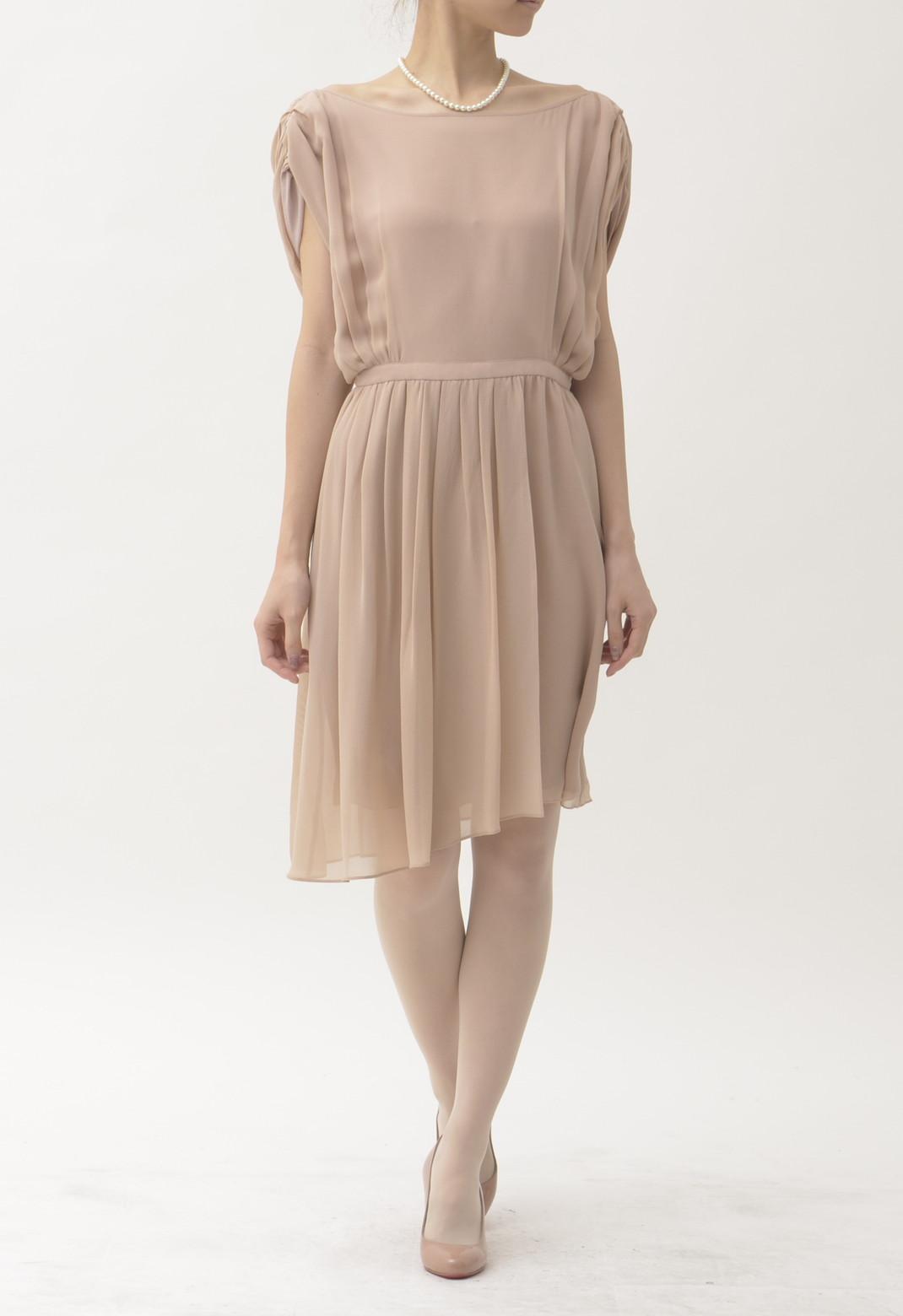 タックプリーツ シルク 半袖 ドレス