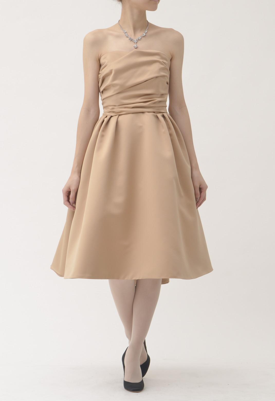 チュチュ スカート 付 ベアトップ ドレス ベージュ