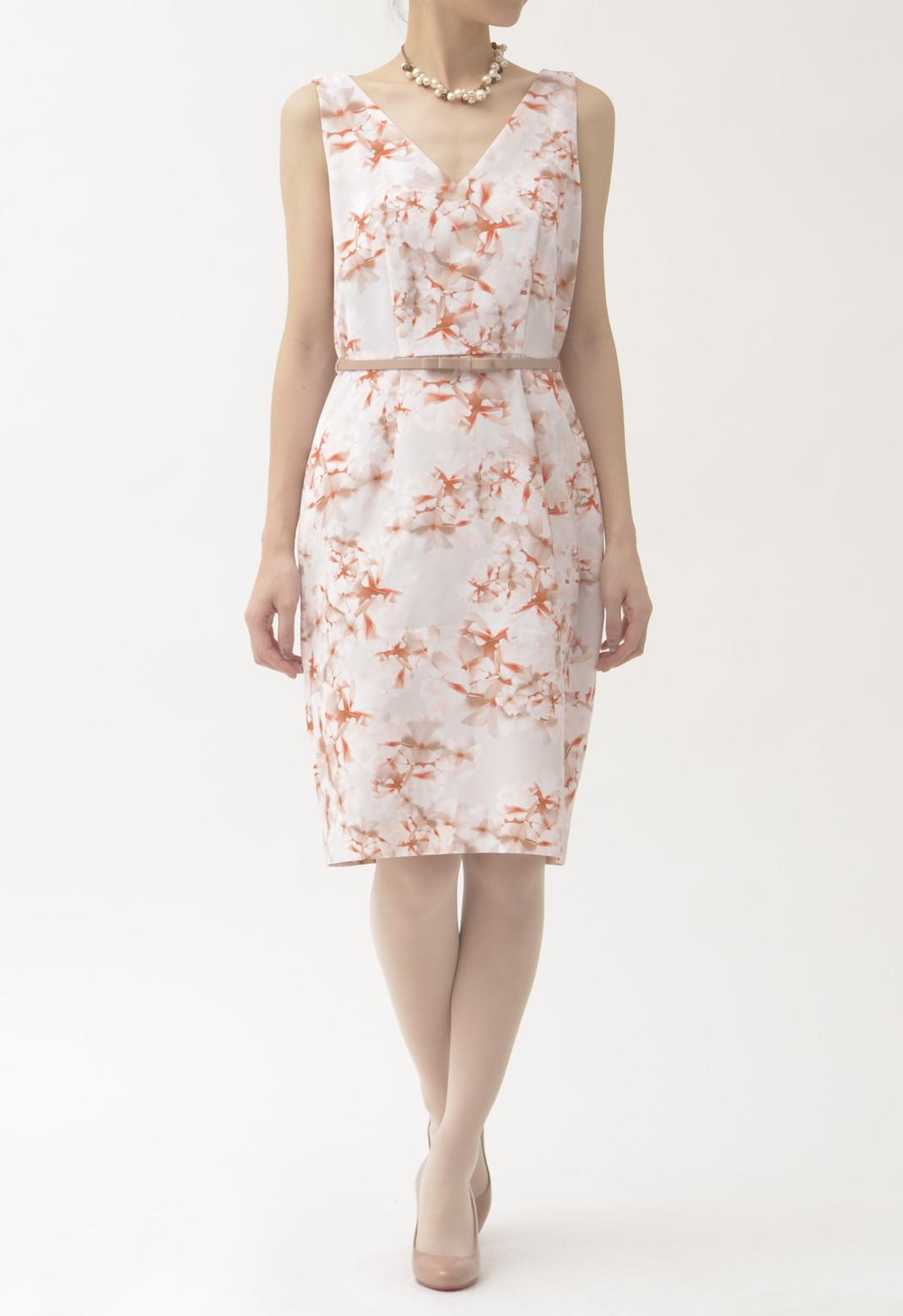 ウエストベルト付き 花柄 ノースリーブ ドレス