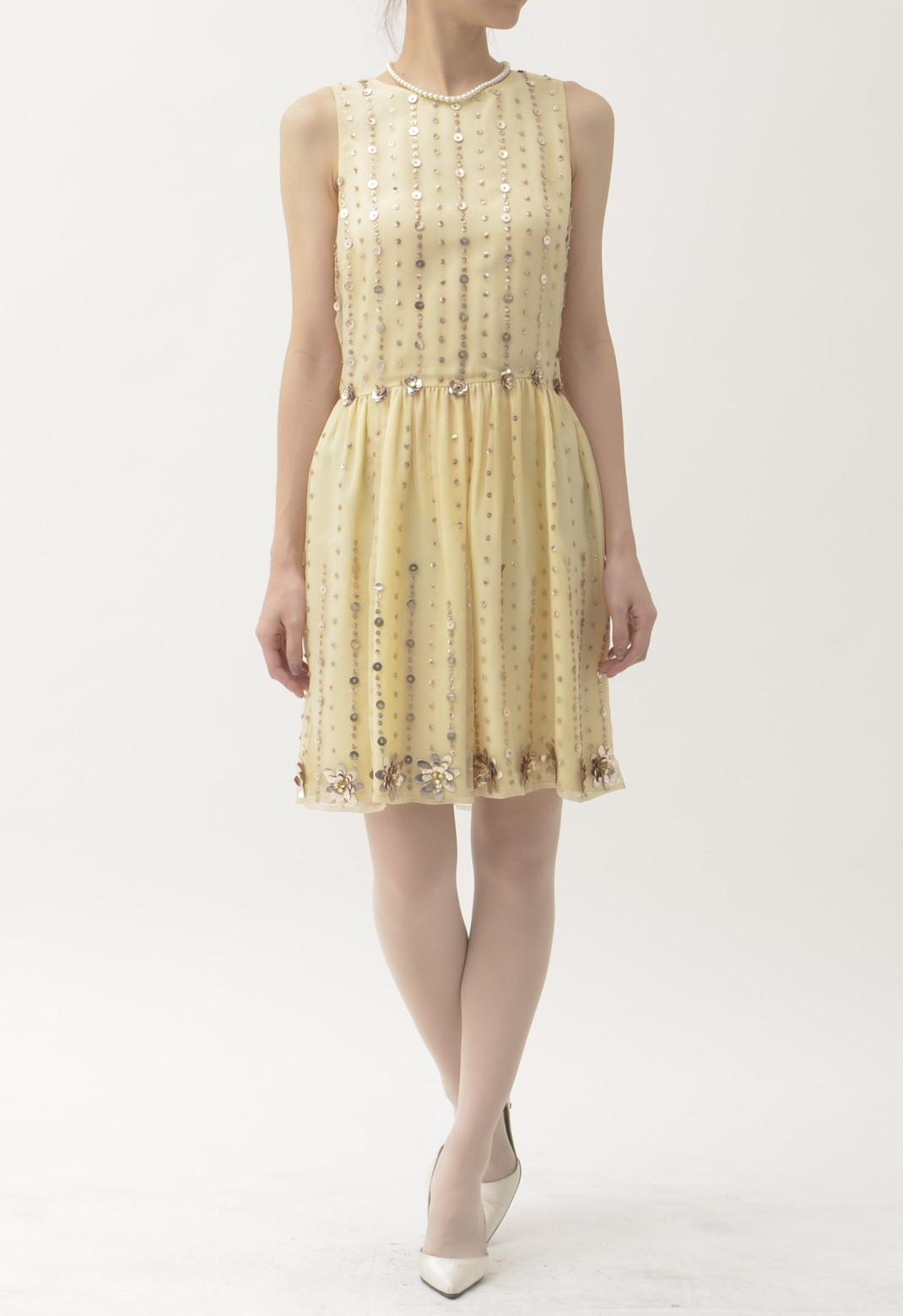 フラワーモチーフスパンコール ノースリーブドレス