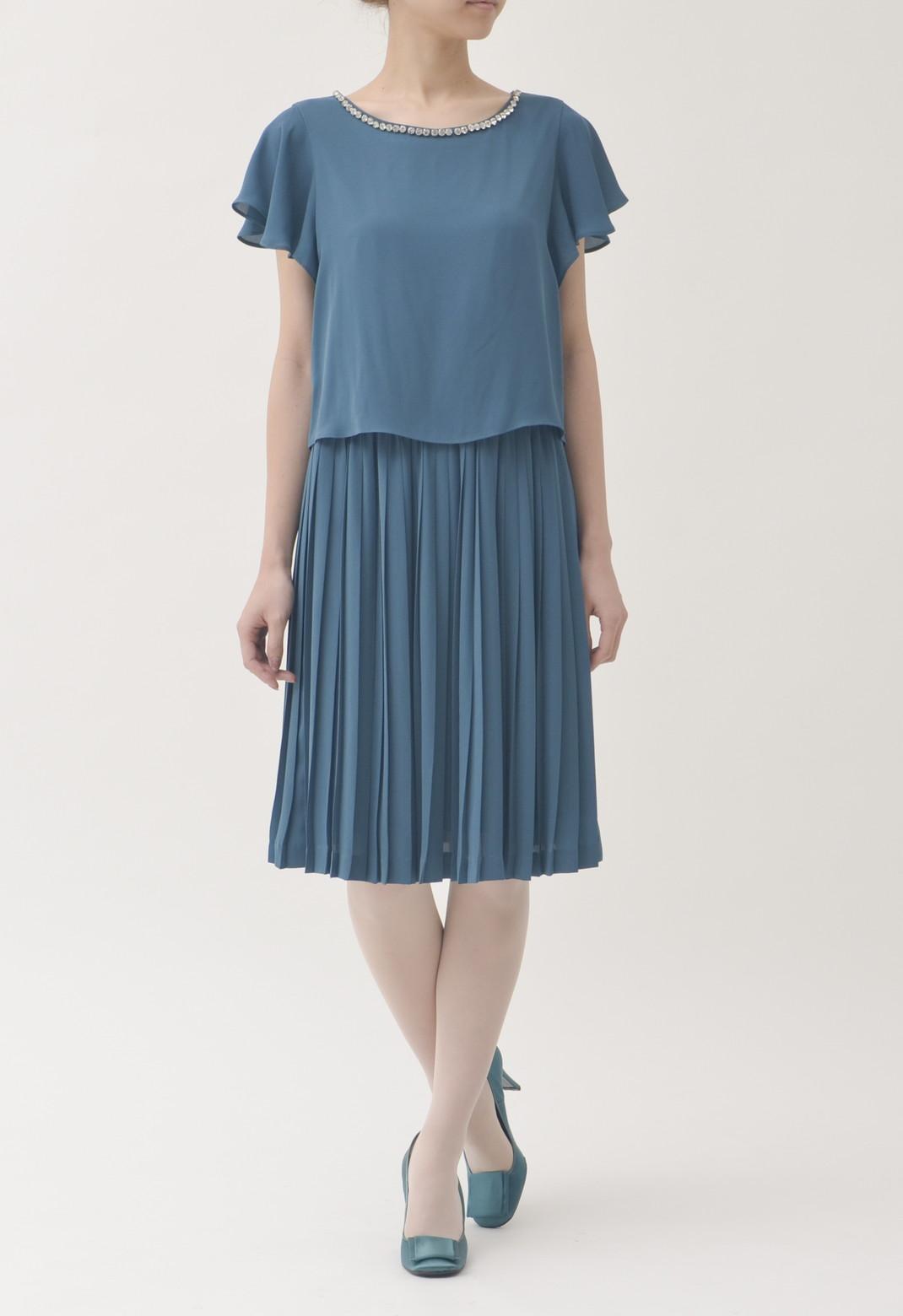 ネックビジュー飾り プリーツ 半袖 ドレス