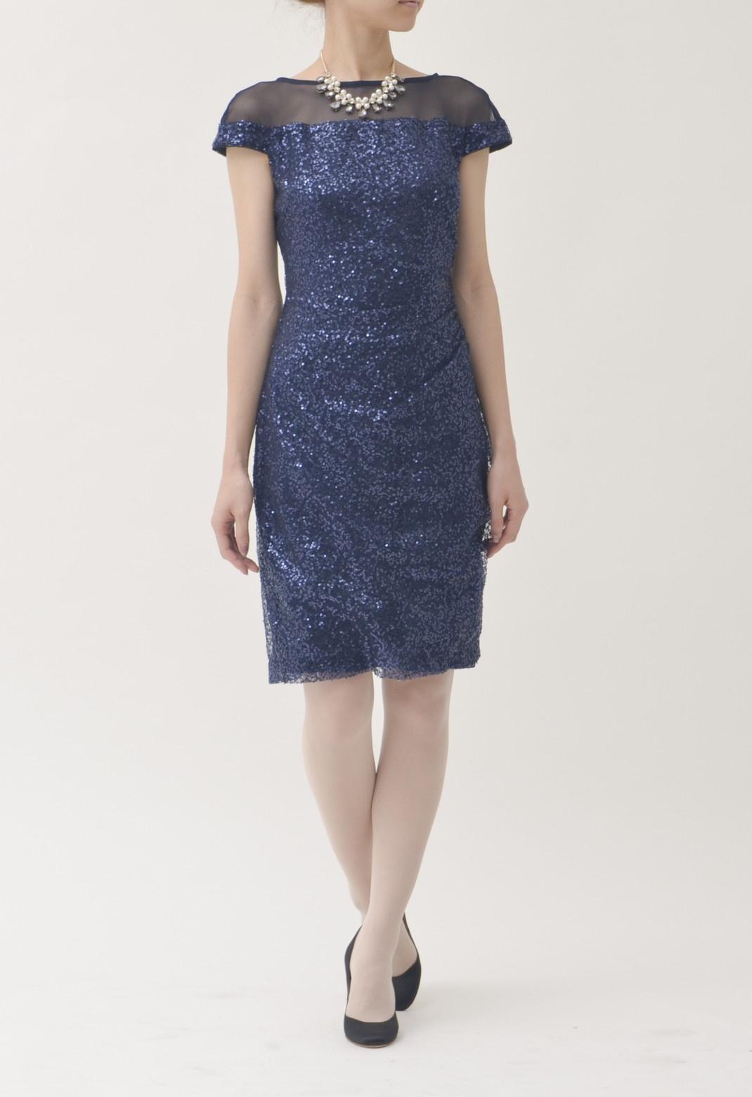 シースルー×スパンコール 半袖 ドレス