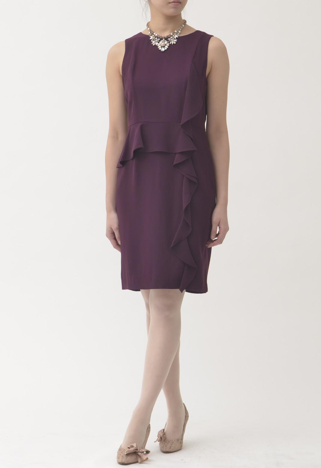 フロントフリル ノースリーブ ドレス