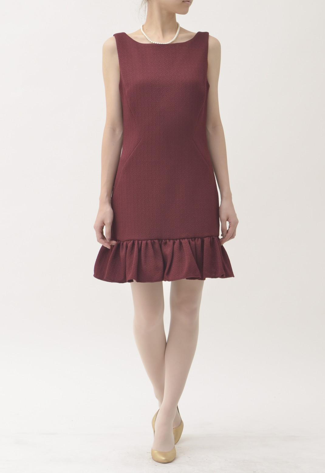 裾フリル バックVカット ノースリーブドレス