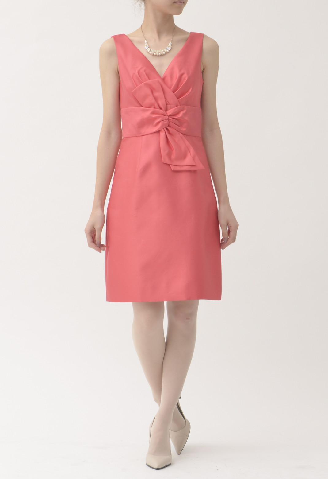 ケイトスペード Vネック フロントリボン飾り シルク混 ノースリーブ ドレス 米2