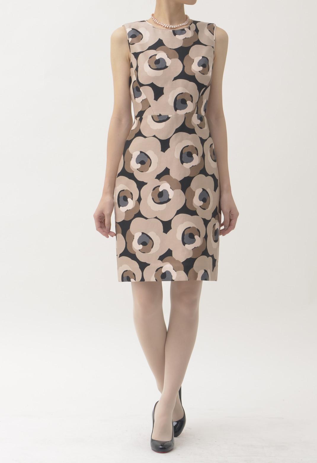 ケイトスペード フラワープリント シルク混 ノースリーブ ドレス