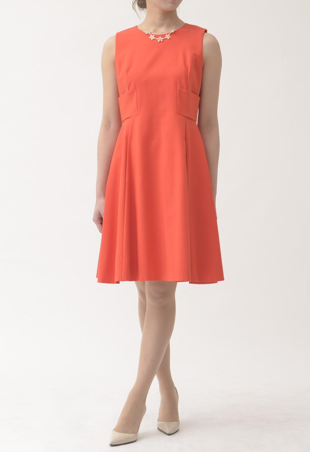 ケイトスペード バックリボン飾り ノースリーブ ドレス オレンジ