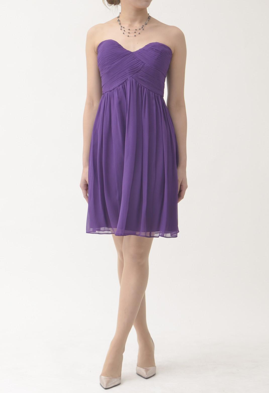 シルク ストラップレス ドレス