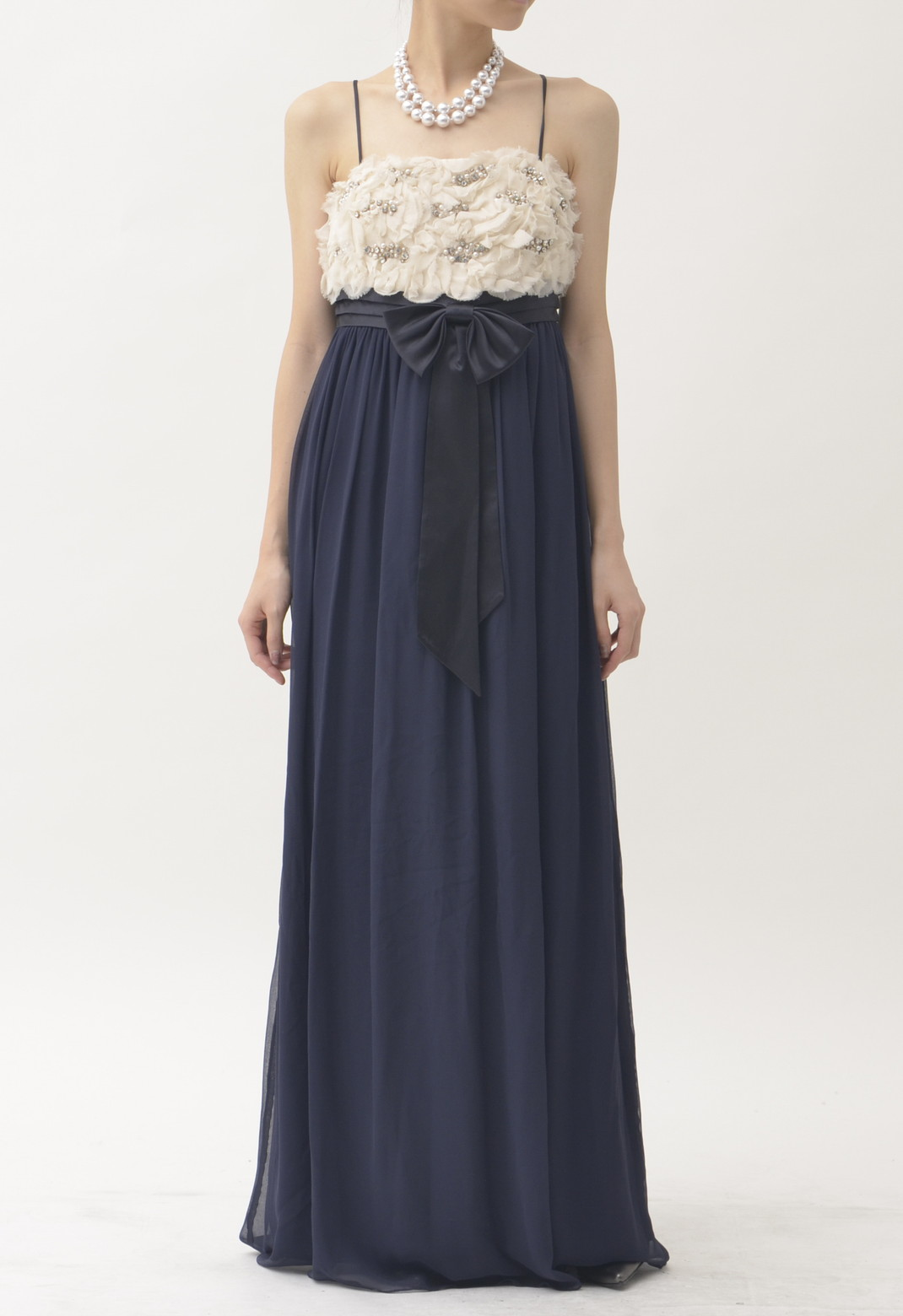 ビジュー飾り キャミソール ロング ドレス