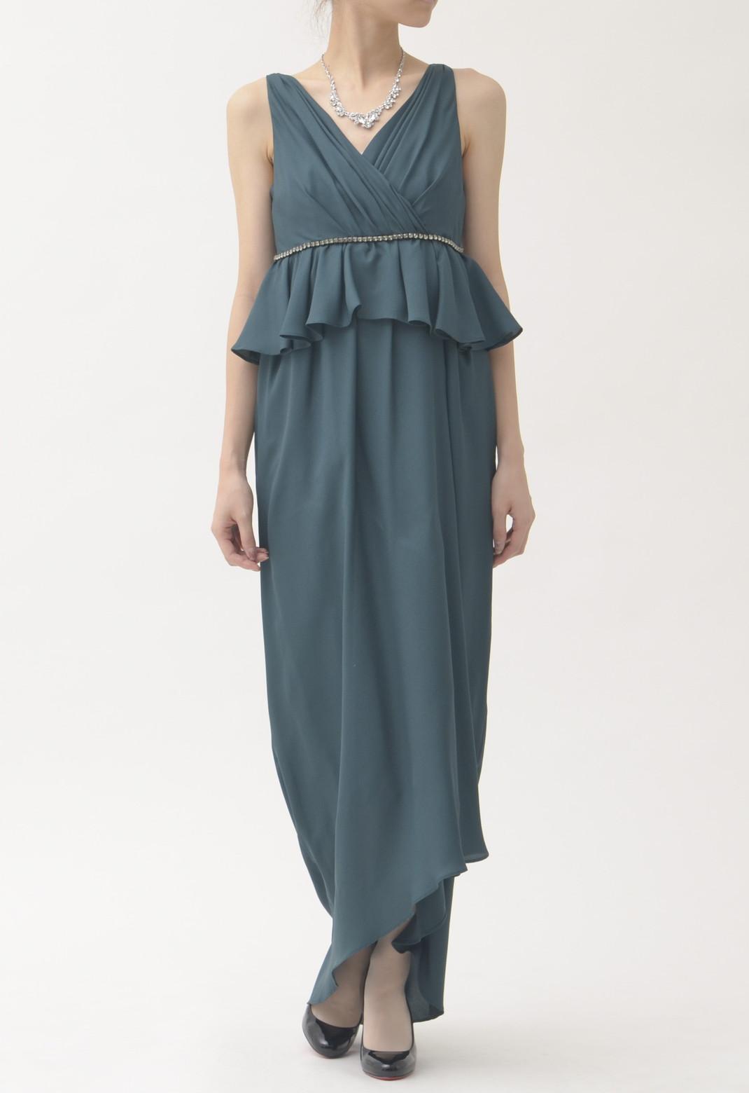 ビジュー飾り ノースリーブ ロング ドレス