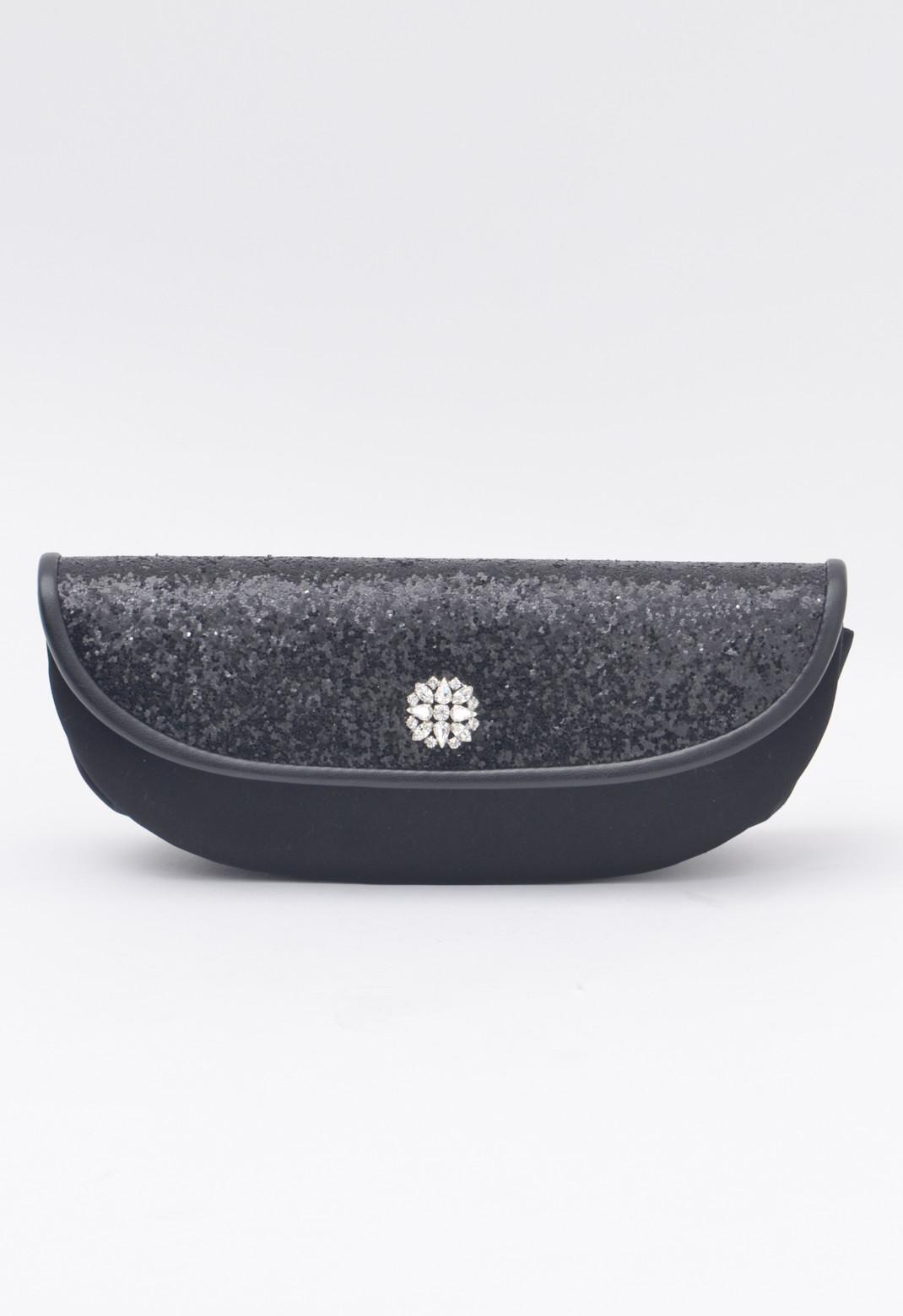 【オンライン限定】サテン ビジュー 飾り フラップ チェーン付 クラッチ バッグ